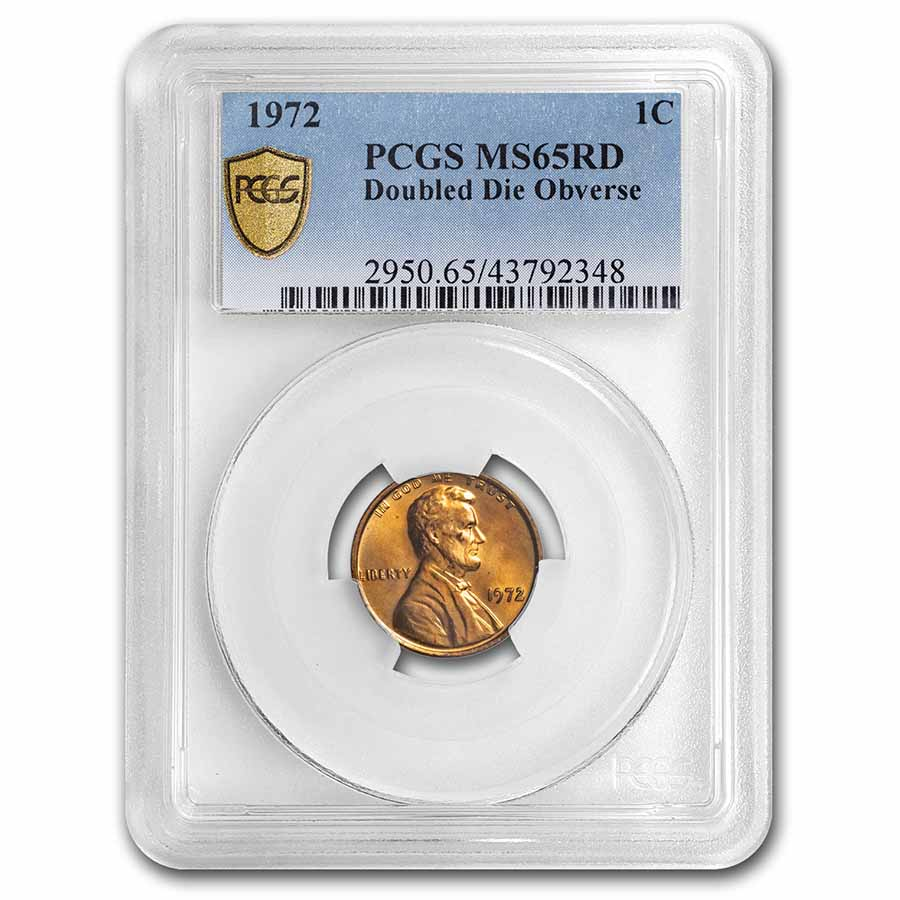 1972 Lincoln Cent Double Die Obverse MS-65 PCGS (Red)