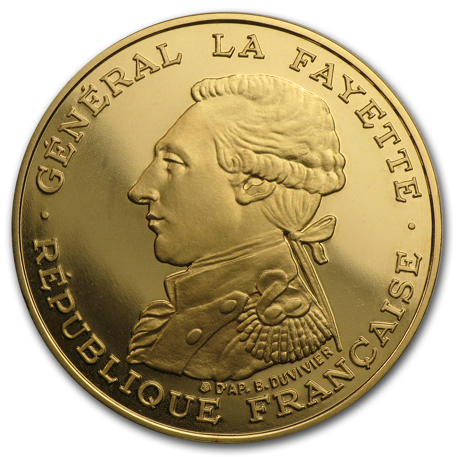 1987 France Proof Gold 100 Francs Lafayette