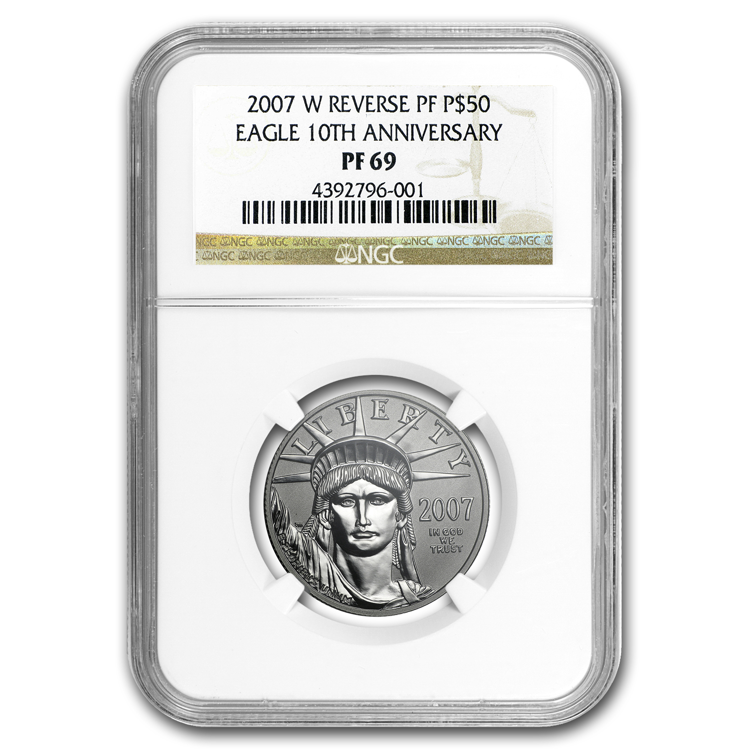 2007-W 1/2 oz Reverse Proof Platinum Eagle PF-69 NGC (10th Anniv)