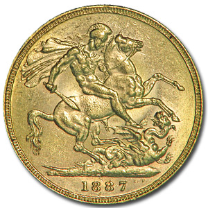 Australia 1887-M Gold Sovereign Victoria AU