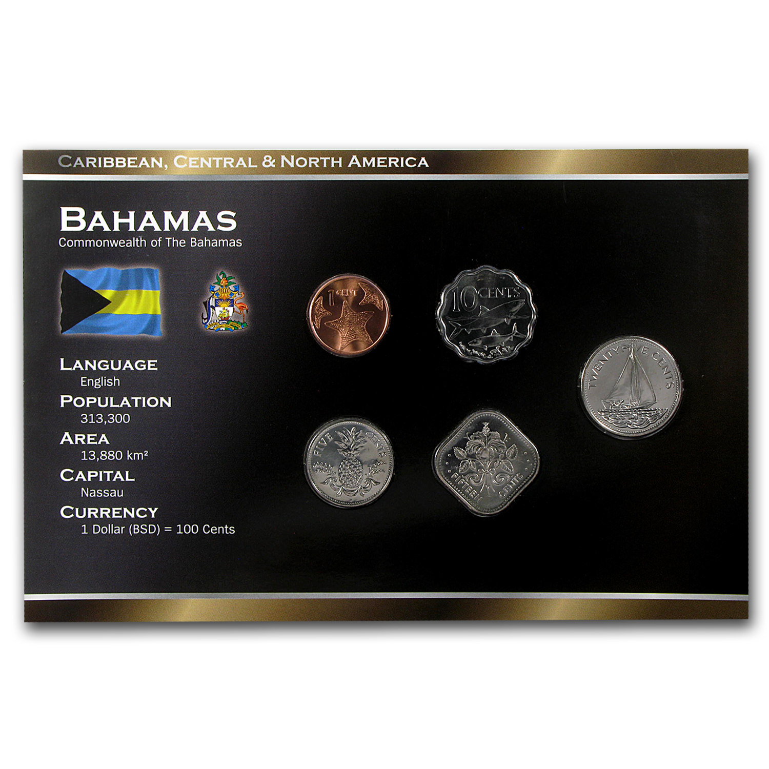 2001-2009 Bahamas 1-25 Cents Coin Set BU