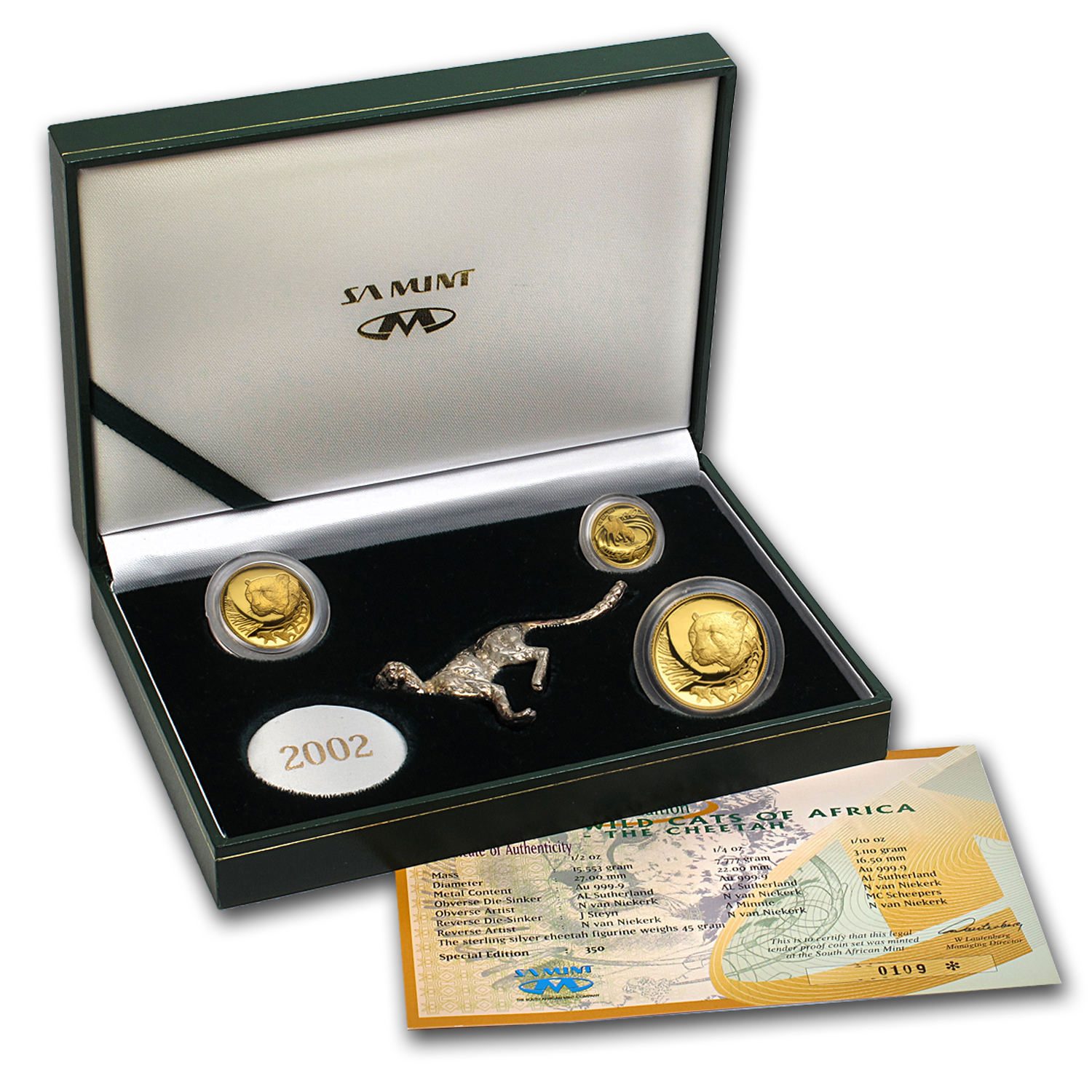 2002 South Africa 3-Coin Gold Natura Cheetah Proof Set