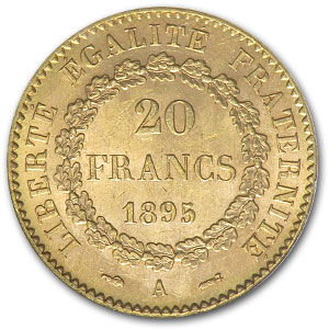 1871-1898 France Gold 20 Francs Lucky Angel XF/AU (w/Folder)