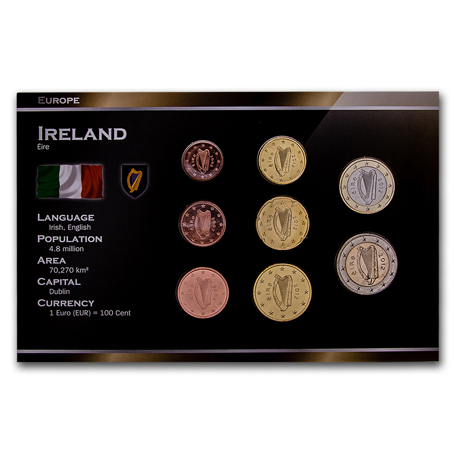 2002 Ireland 8-Coin Euro Set