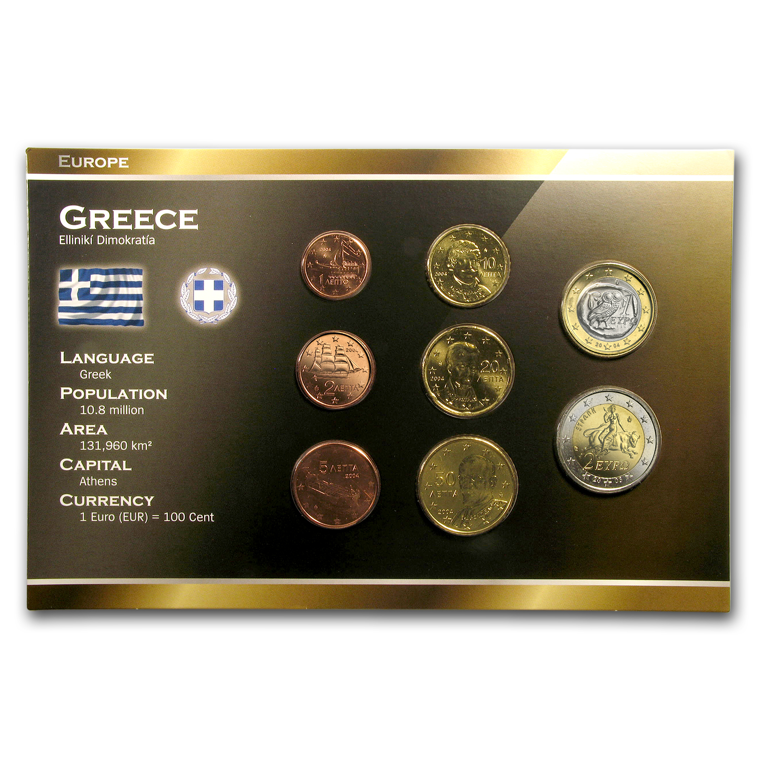 2002 Greece 8-Coin Euro Set