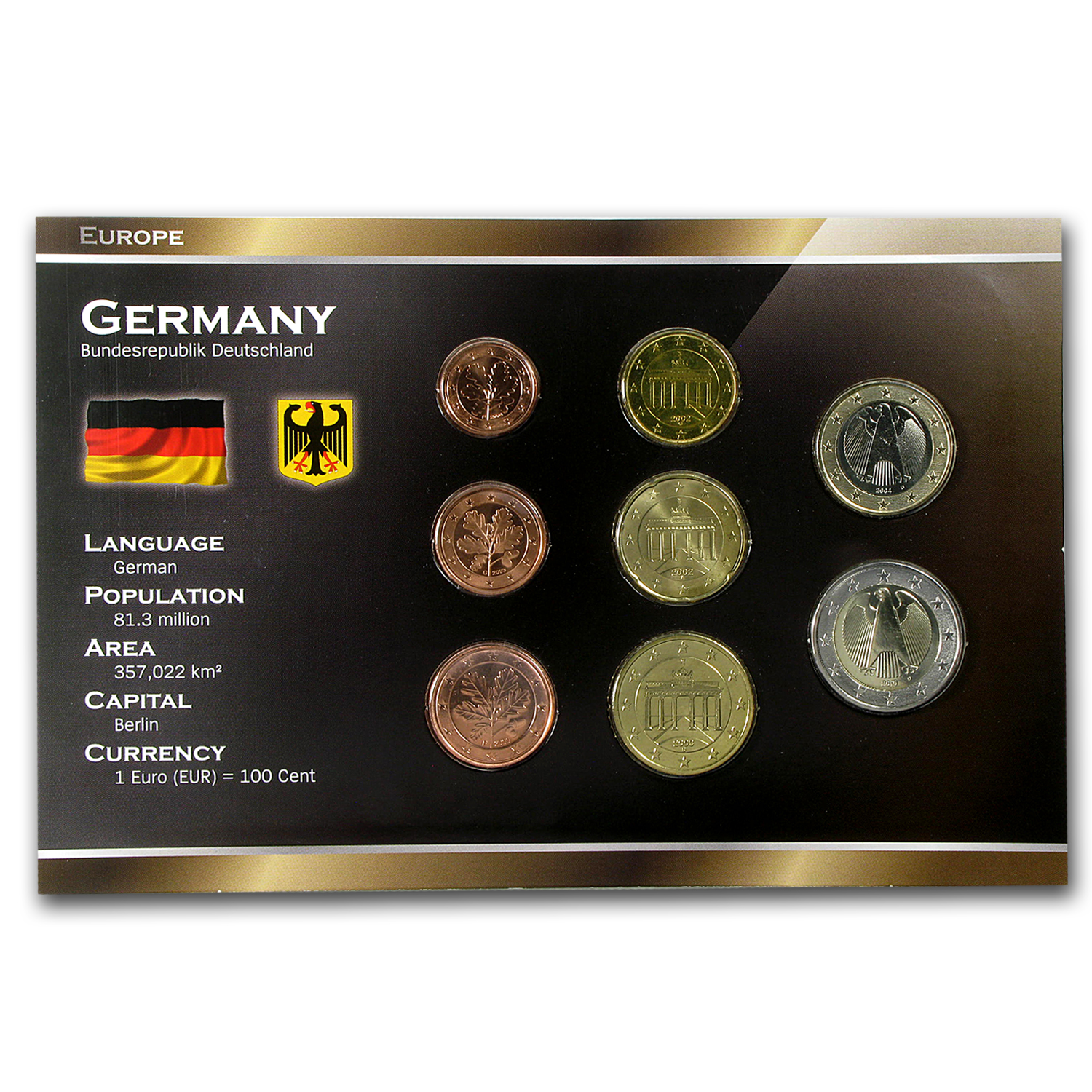 2002-2011 Germany 1 Cent-2 Euro Coin Set BU