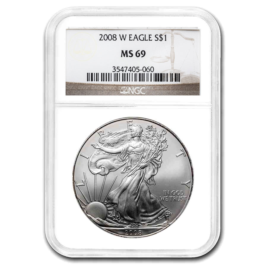 2008 Silver American Eagle MS-69 NGC