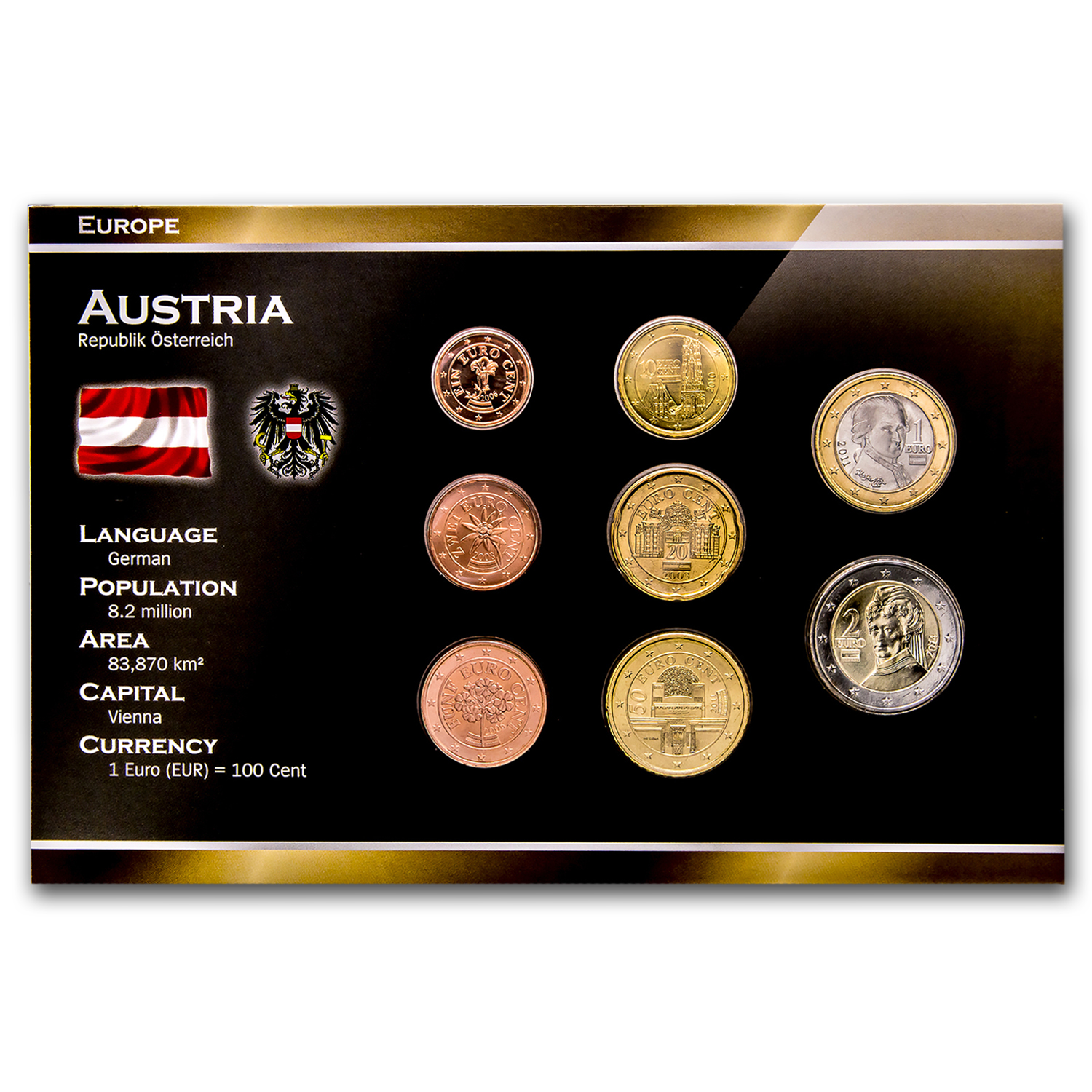 2002 Austria 8-Coin 1 Cent- 2 Euro Set BU