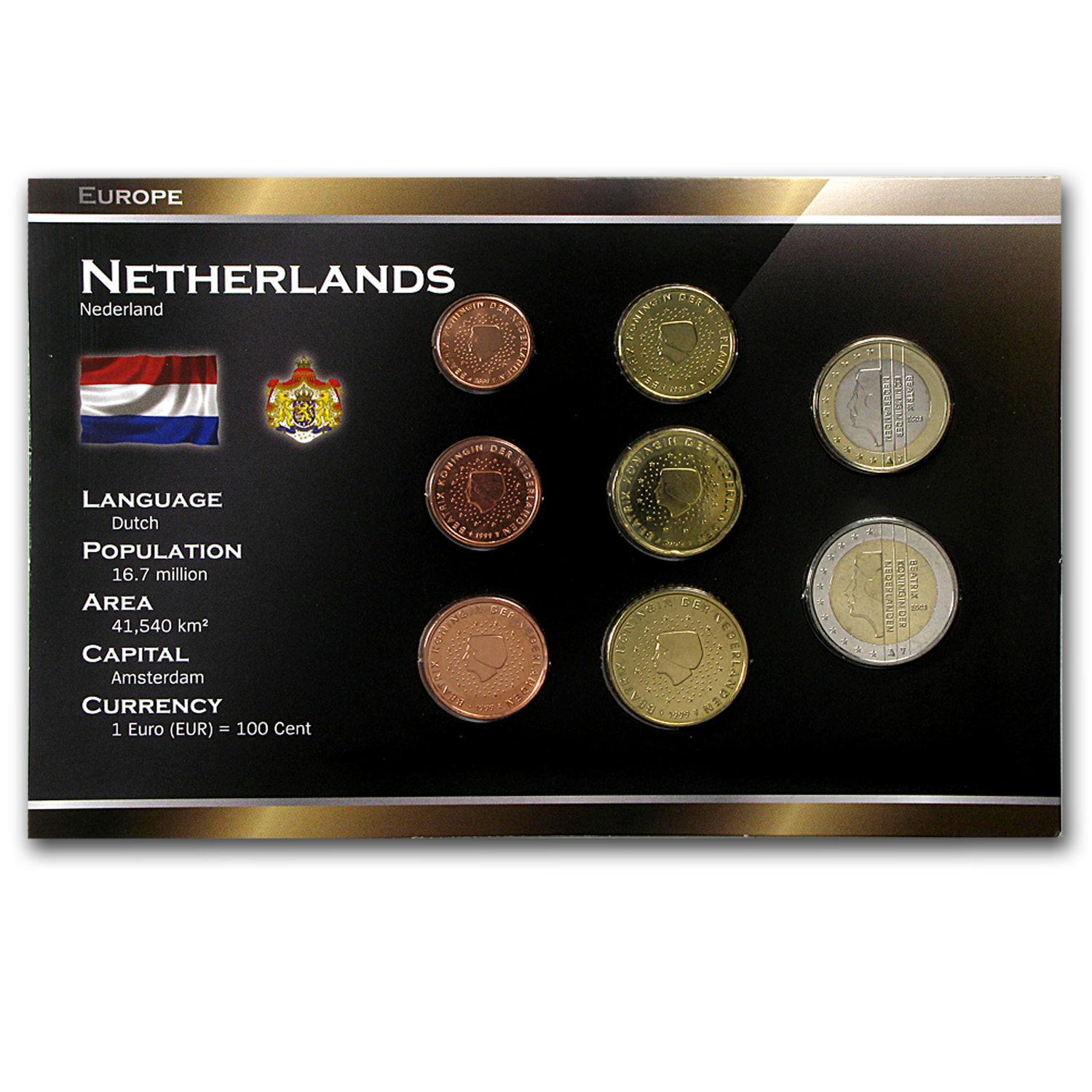 1999-2005 Netherlands 1 Cent-2 Euro Coin Set BU