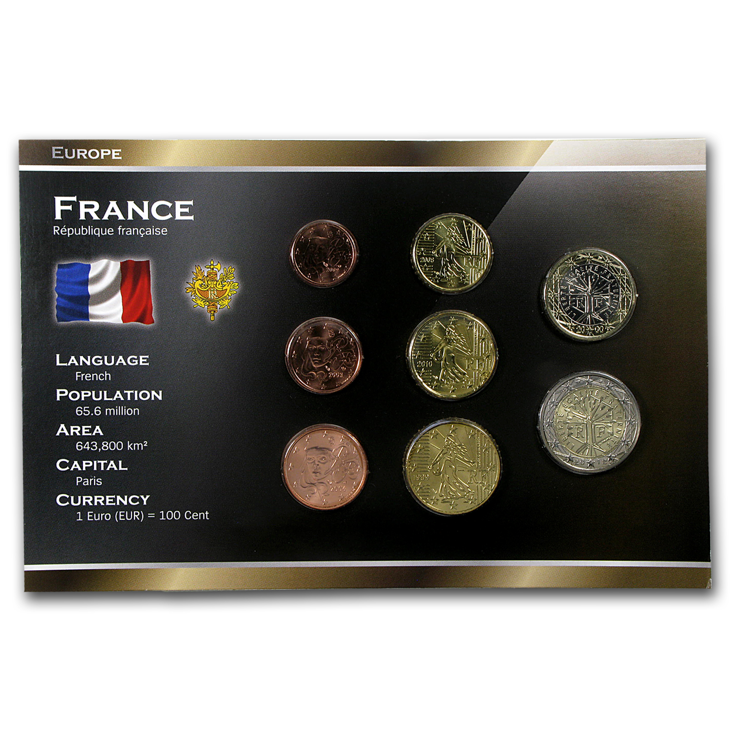 1999-2012 France 1 Cent-2 Euros Coin Set BU