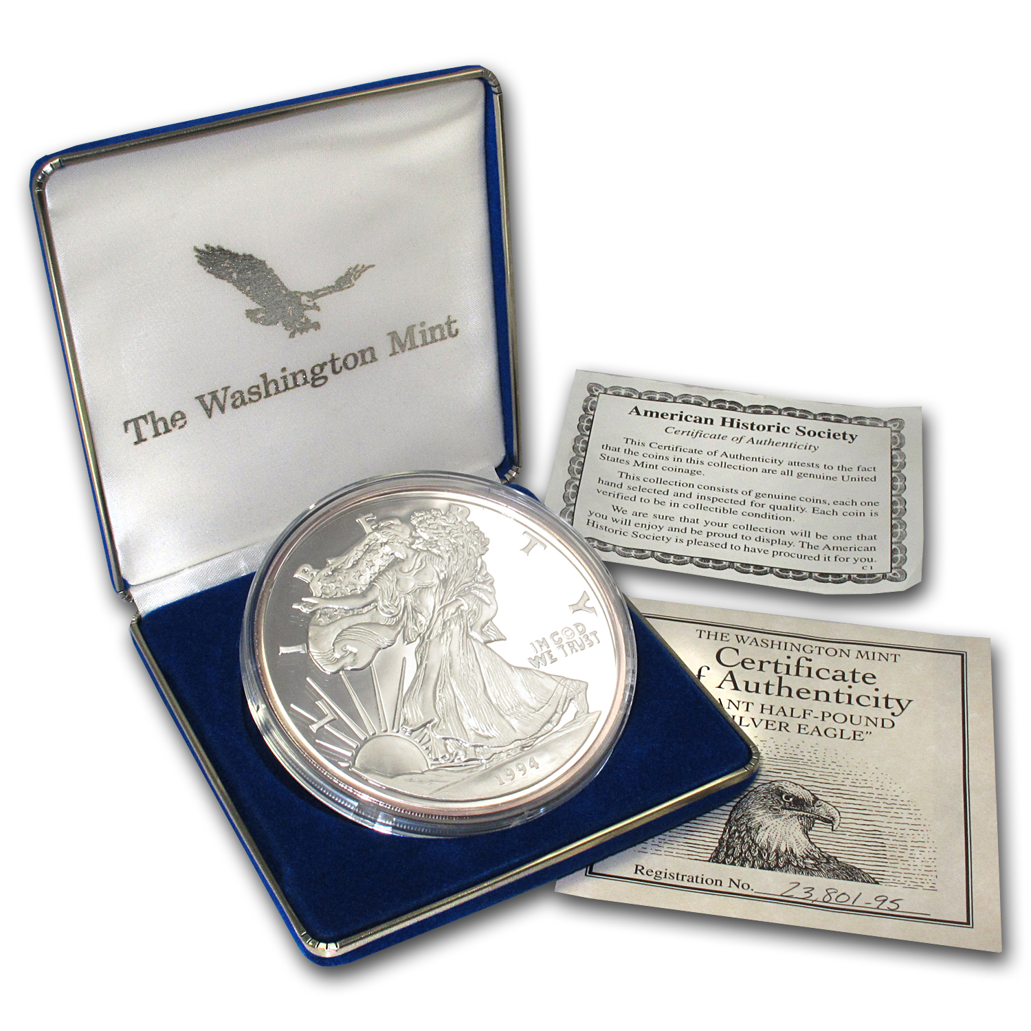 8 oz Silver Round Large Silver Eagle Replica (1994) .999 Fine