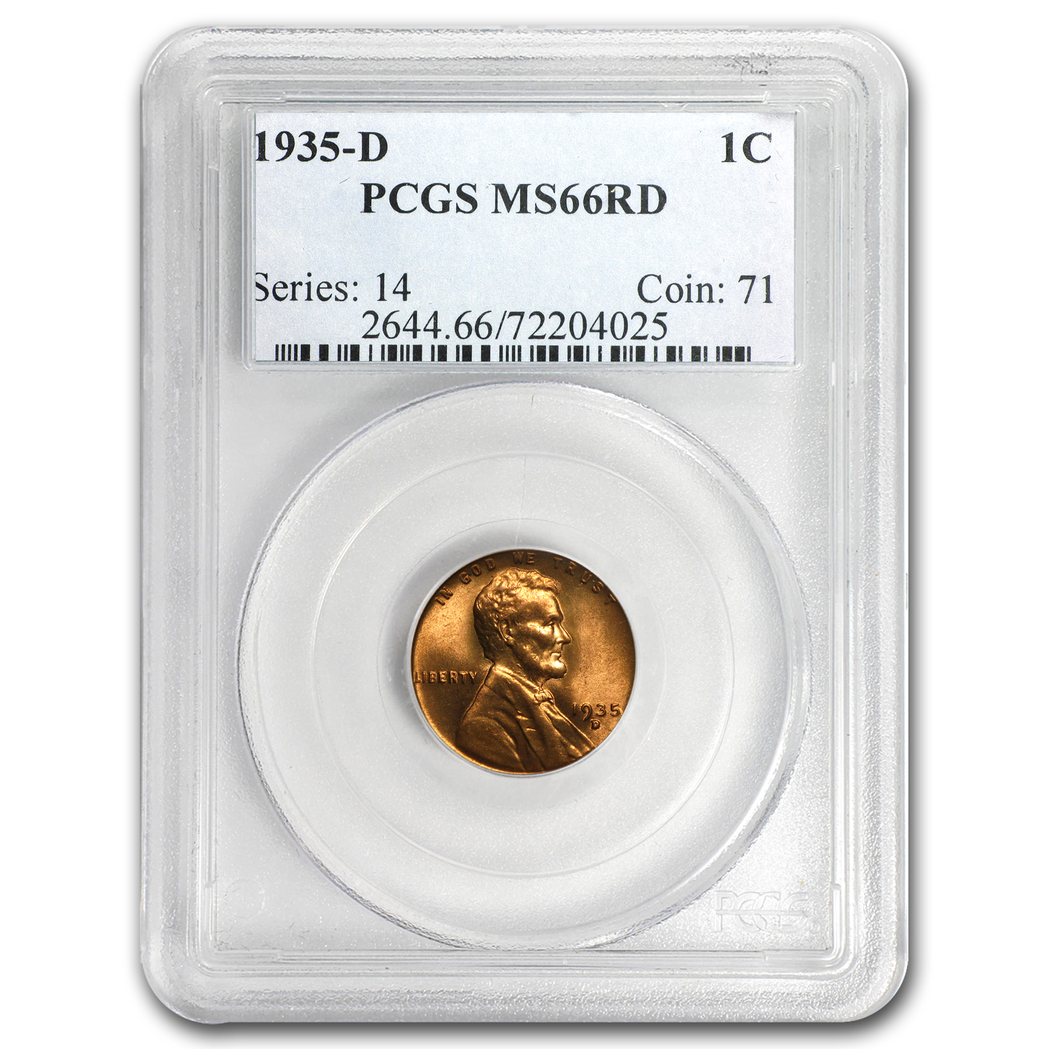 1935-D Lincoln Cent MS-66 PCGS (Red)