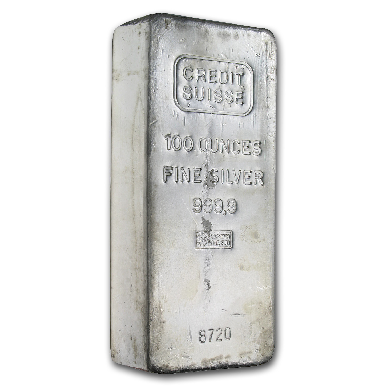 100 Oz Silver Bar Credit Suisse 100 Oz Silver Bars