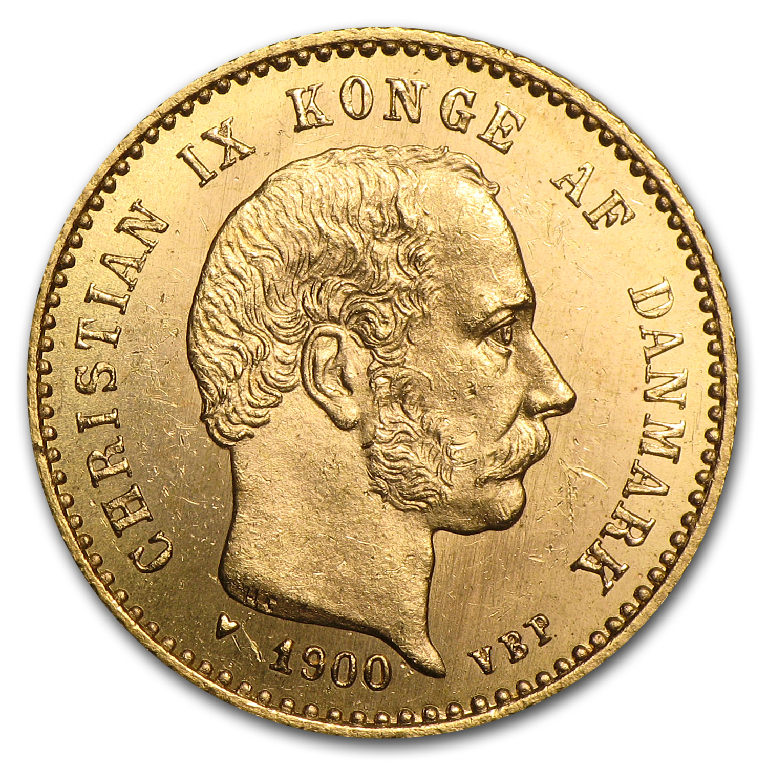 Denmark 1900 Gold 10 Kroner Uncirculated