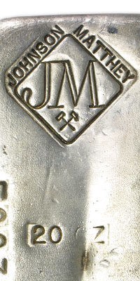 20 oz Silver Bar - Johnson Matthey (Serial #/Canada)