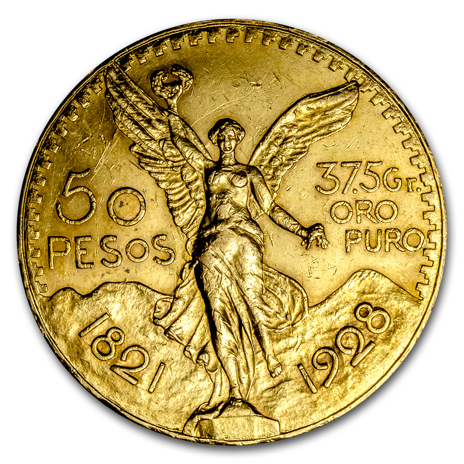 1928 Mexico Gold 50 Pesos AU
