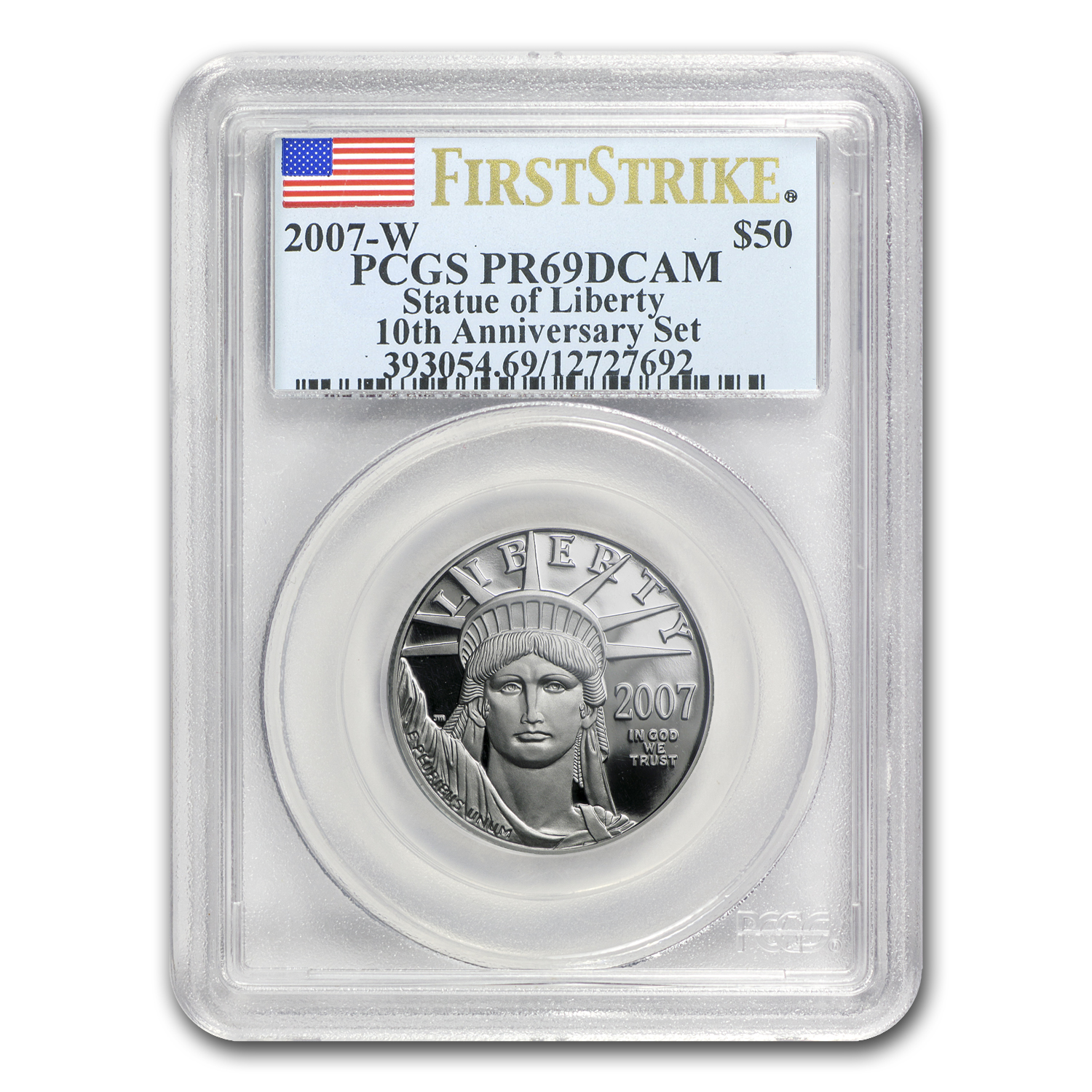 2007-W 1/2 oz Proof Platinum Eagle PR-69 PCGS (FS, 10th Anniv)