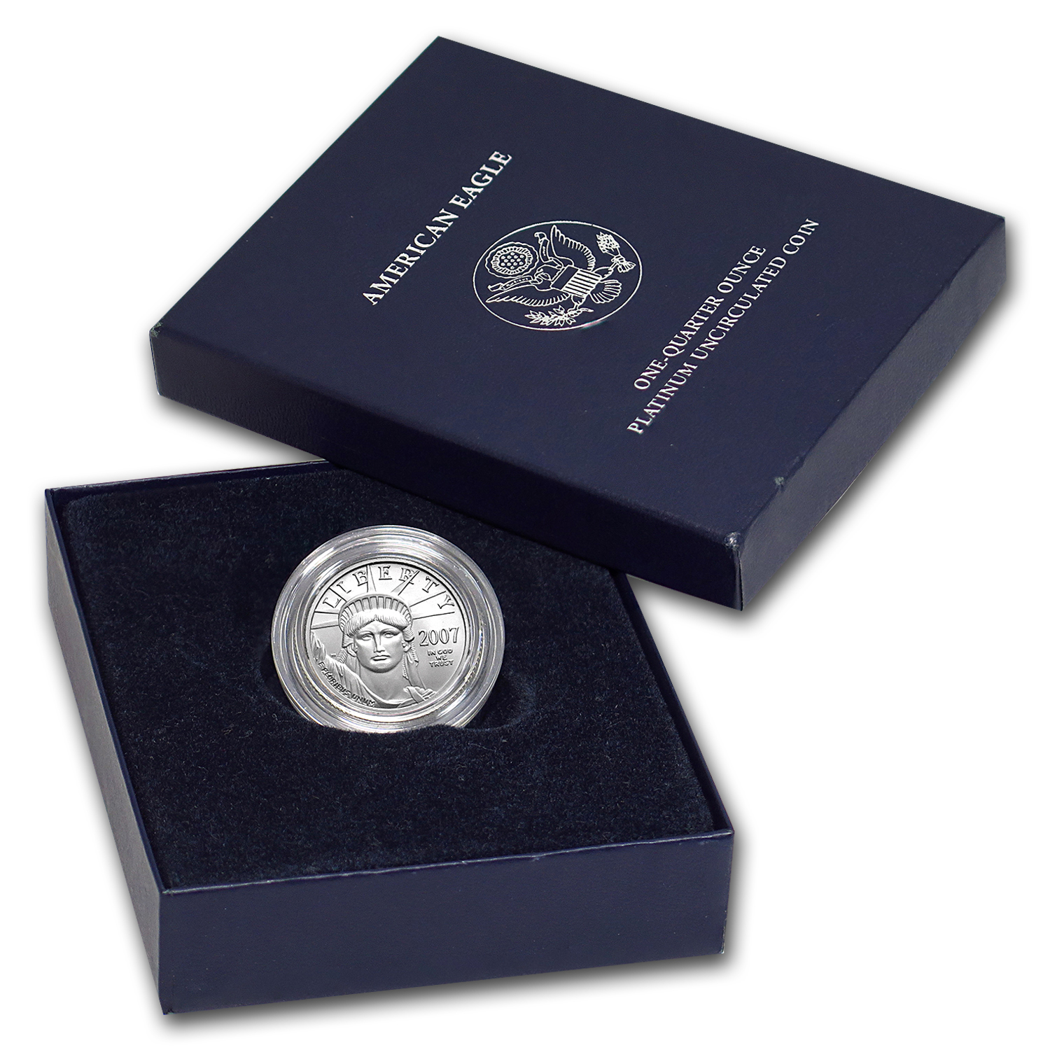 2007-W 1/4 oz Burnished Platinum American Eagle (w/Box & CoA)