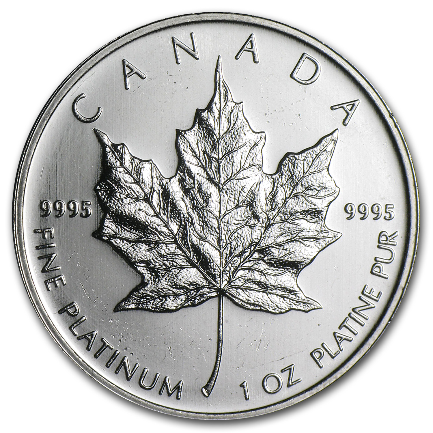 Canada 1 oz Platinum Maple Leaf (Random year, Scruffy)