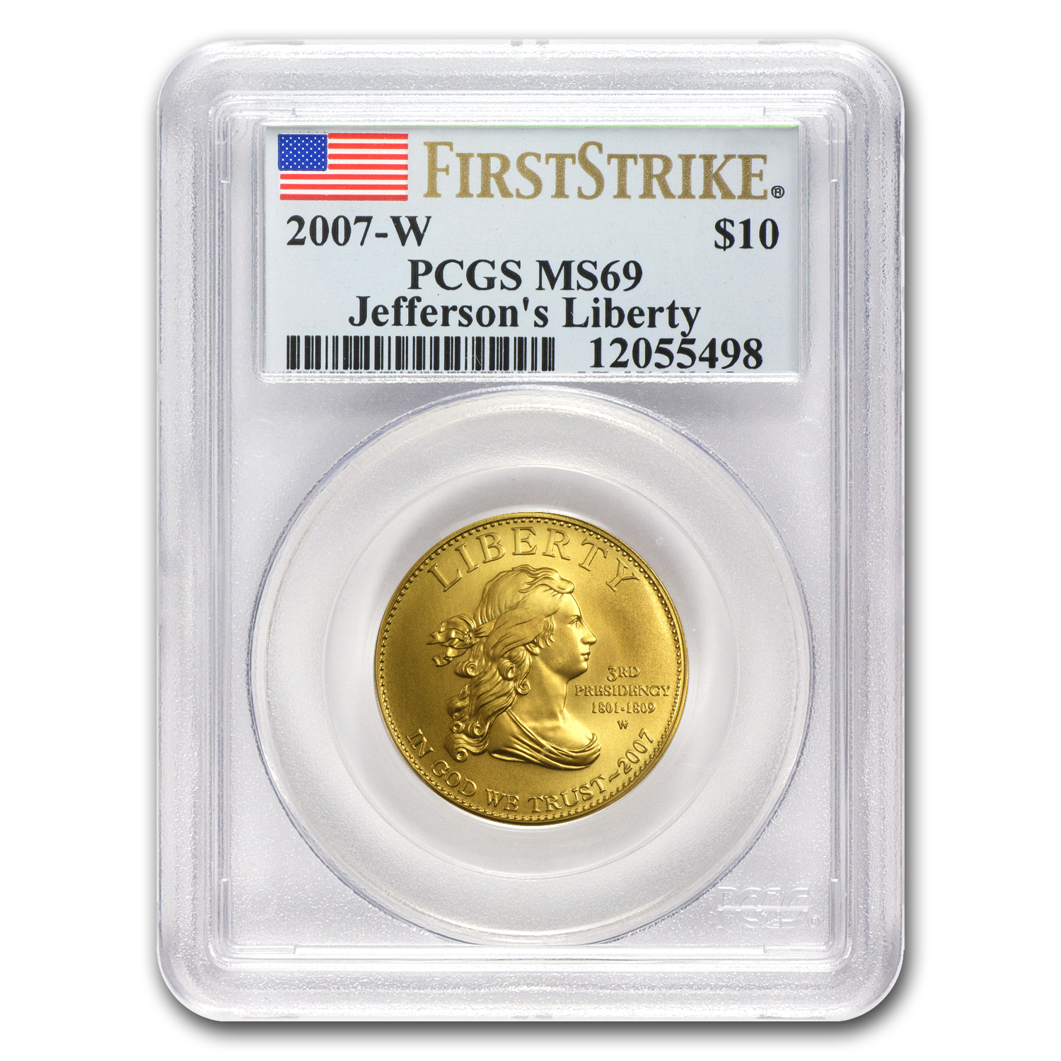 2007-W 1/2 oz Gold Jefferson's Liberty MS-69 PCGS (First Strike)