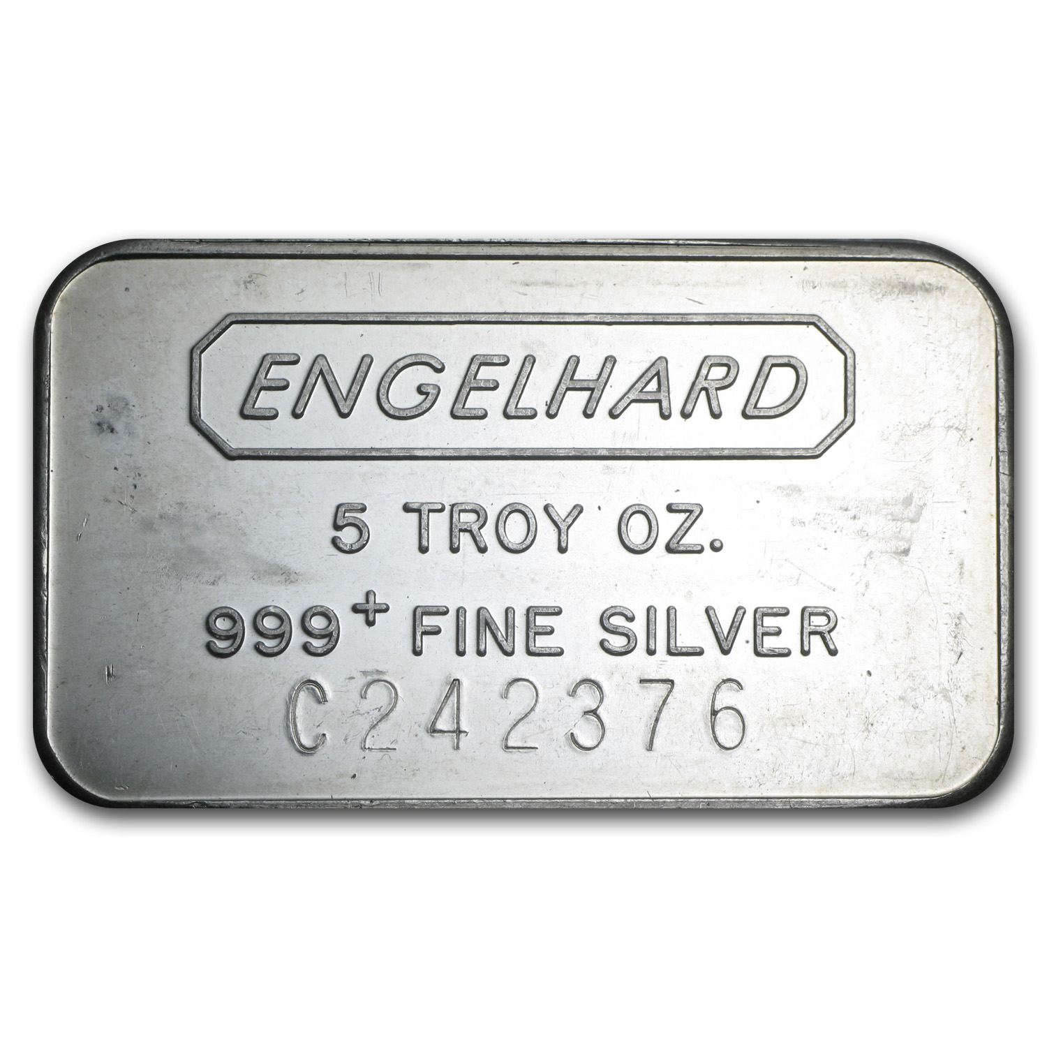 5 oz Silver Bar - Engelhard (Struck/Logo Back)