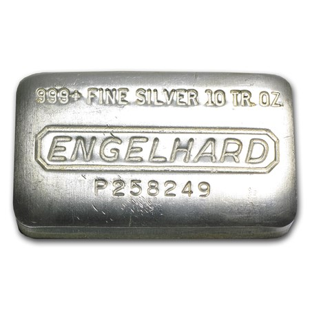 10 Oz Silver Bar Engelhard Wide Pressed 10 Oz