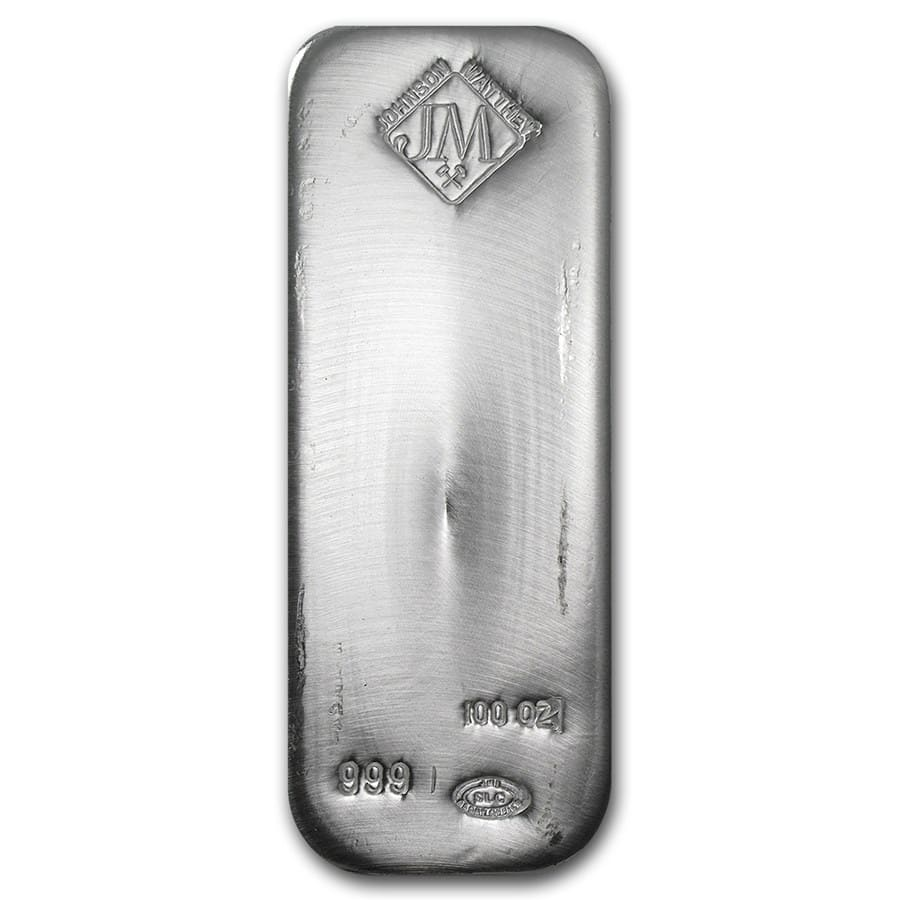 100 oz Silver Bars - Johnson Matthey