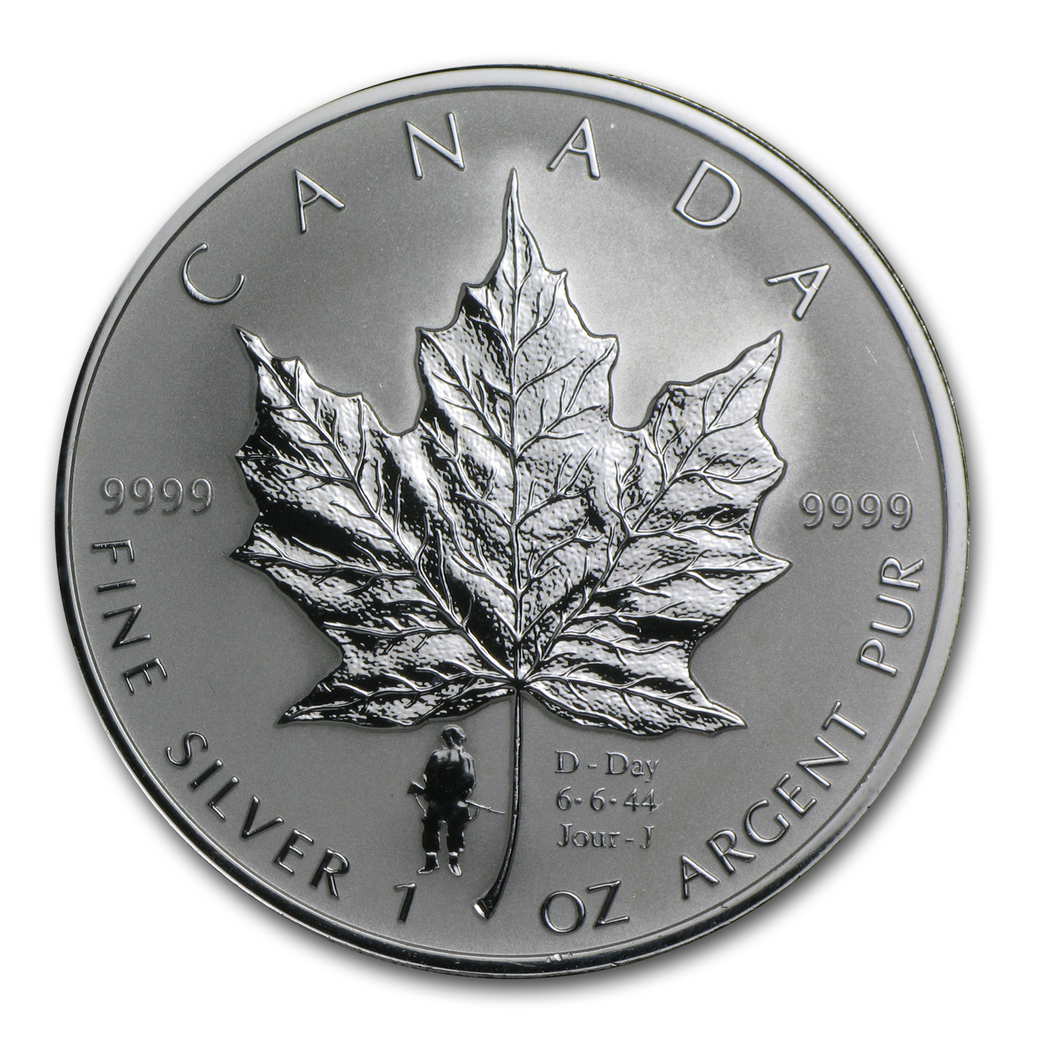2004 1 oz Silver Canadian Maple Leaf (D-Day Privy)