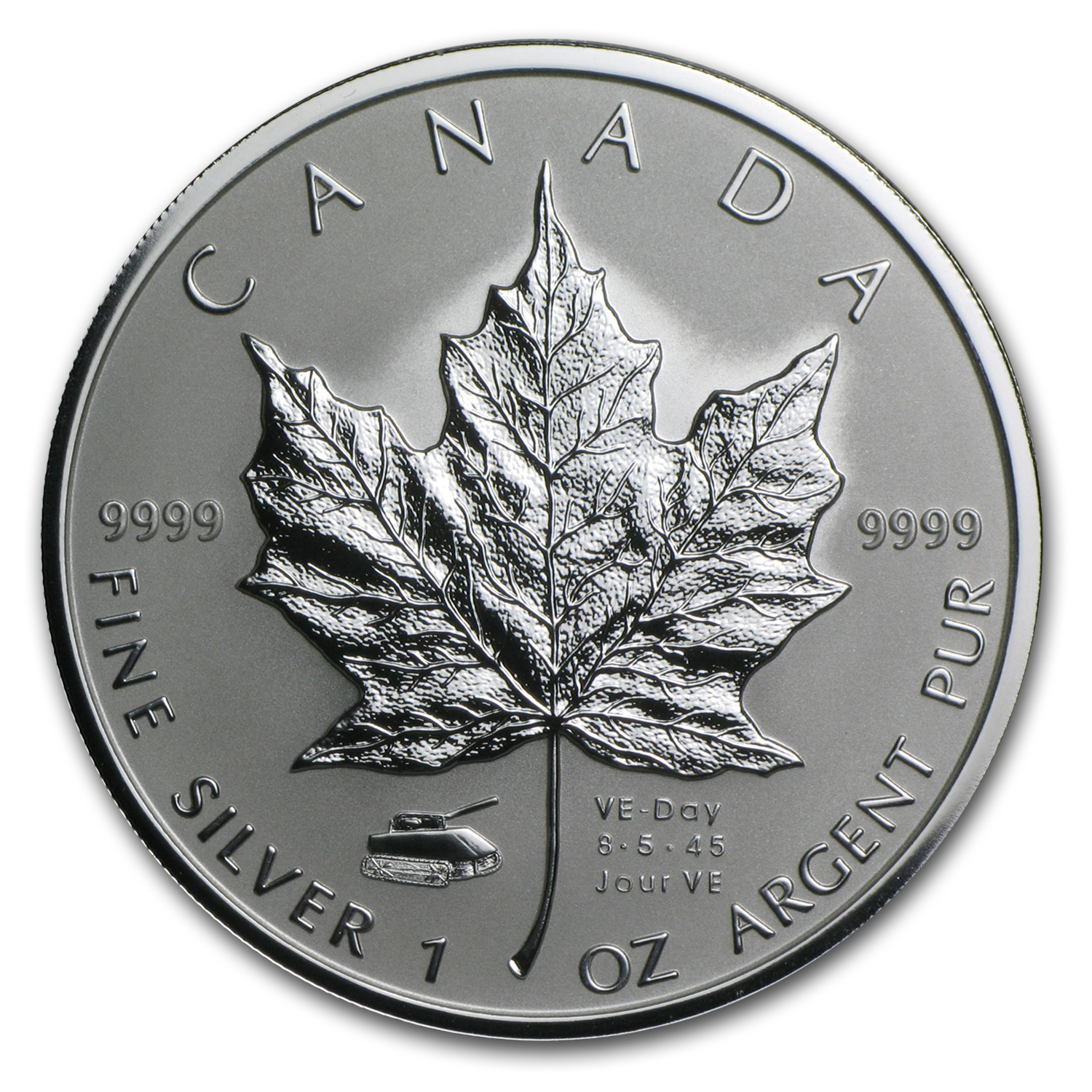 2005 Canada 1 oz Silver Maple Leaf VE-Day Tank Privy