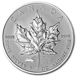 2005 1 oz Silver Canadian Maple Leaf (VE Day Privy) - Tank