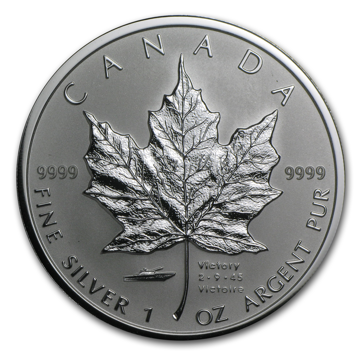 2005 Canada 1 oz Silver Maple Leaf VJ Day Privy