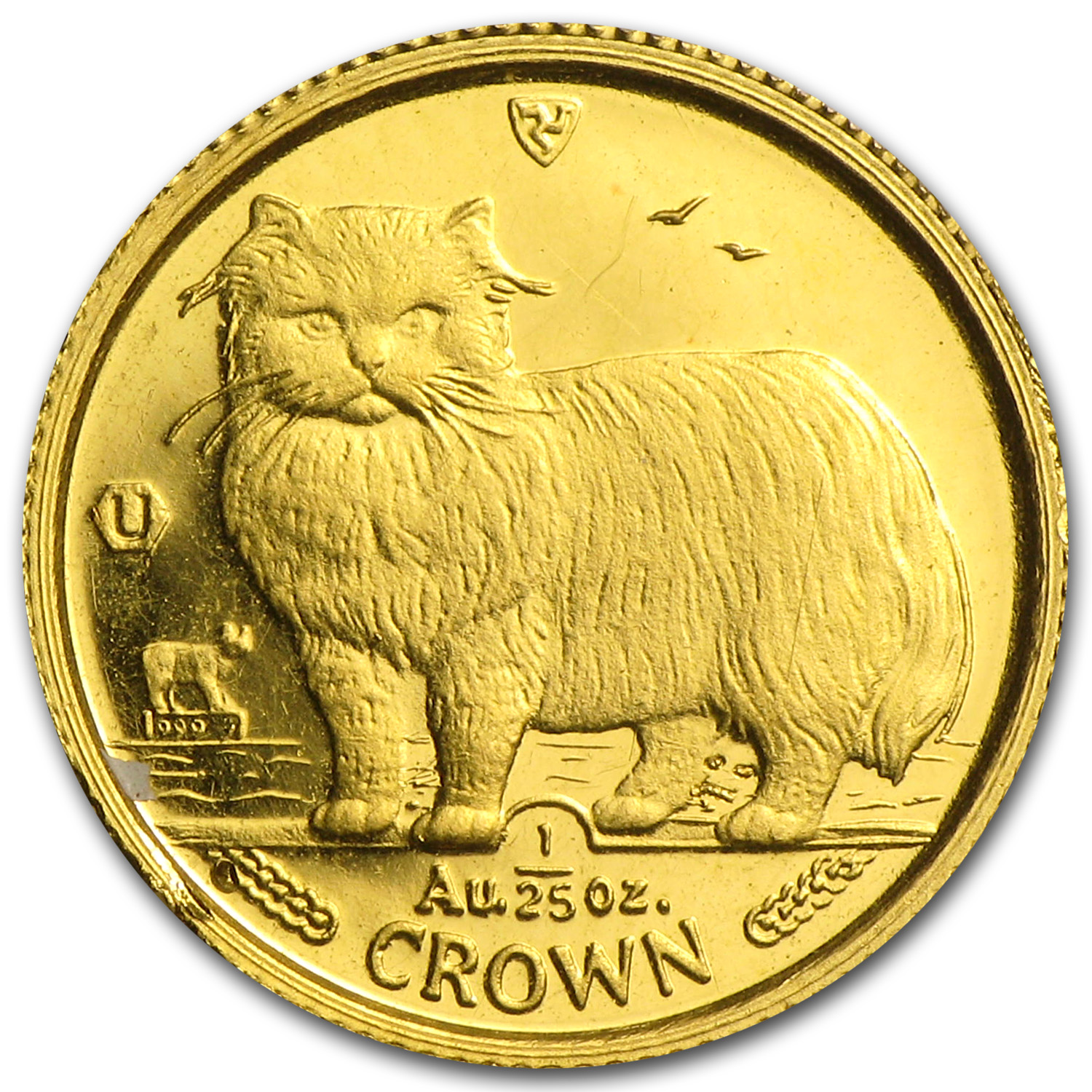 1989 Isle of Man 1/25 Crown Gold Persian Cat