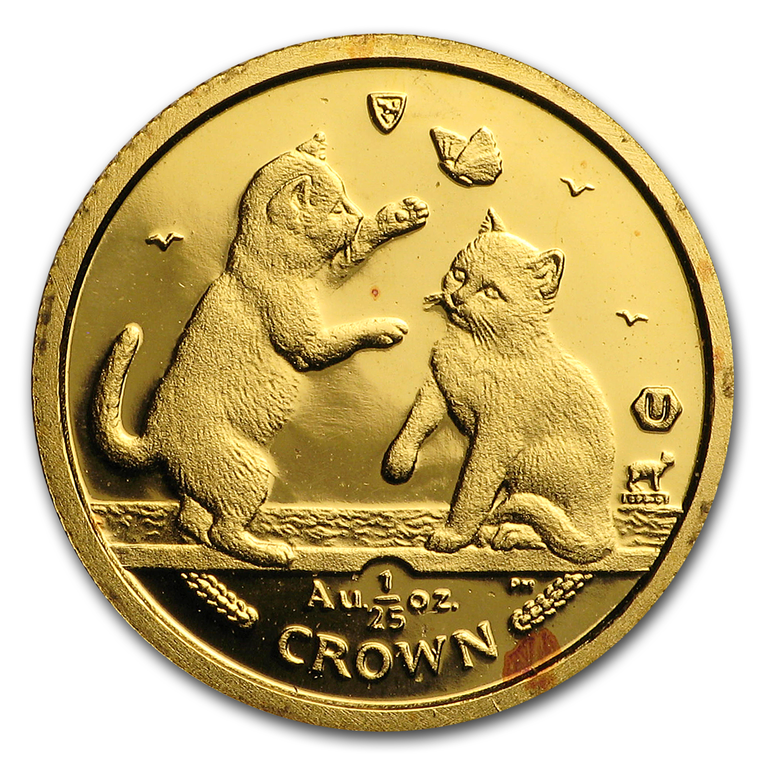 2004 Isle of Man 1/25 oz Gold Tonkinese Cat BU