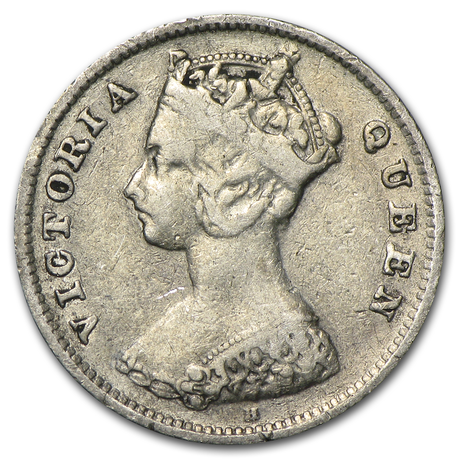 1900 Hong Kong Silver 10 Cents VF