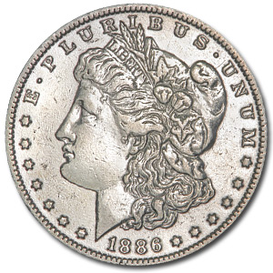 1886-O Morgan Dollar - Almost Uncirculated-58 Details - Polished