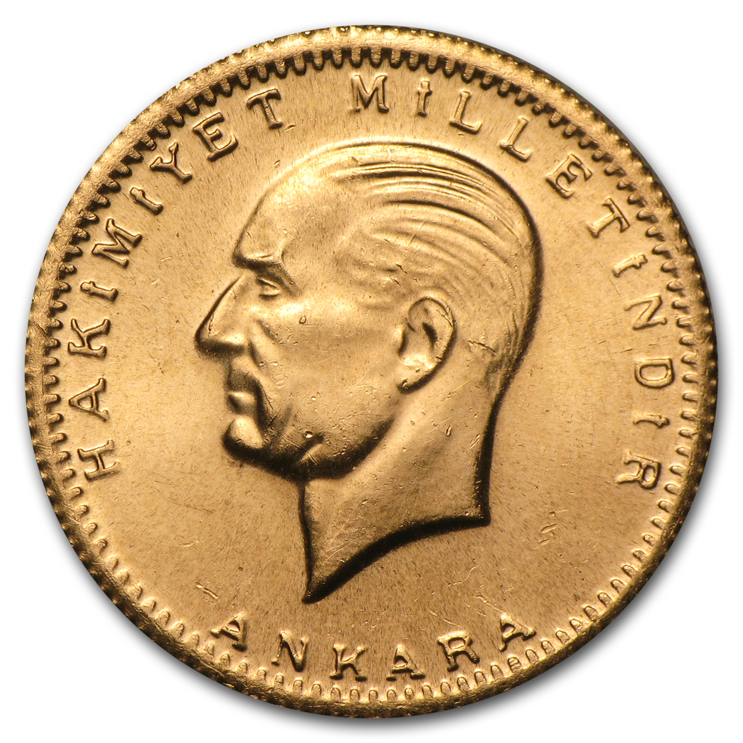 1923-1938 Turkey Gold 100 Kurush Ataturk BU (Random Year)
