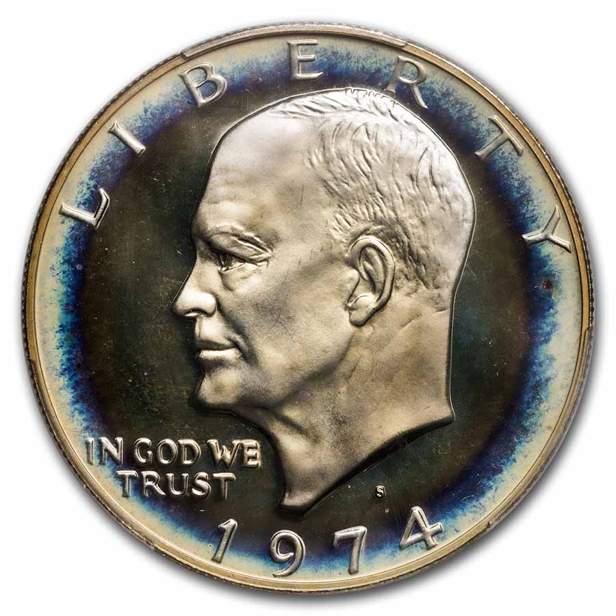 1974-S Eisenhower Silver Dollar PF-69 UCAM NGC - Target Toned