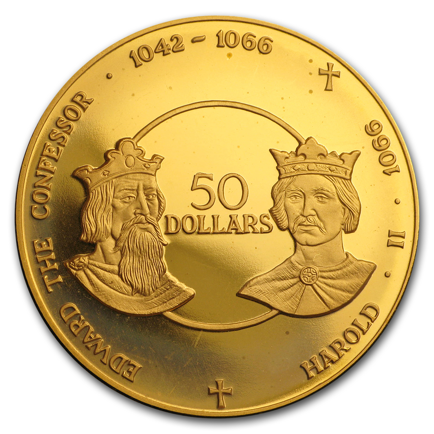 1980 Cayman Islands Proof Gold 50 Dollars Saxon Kings