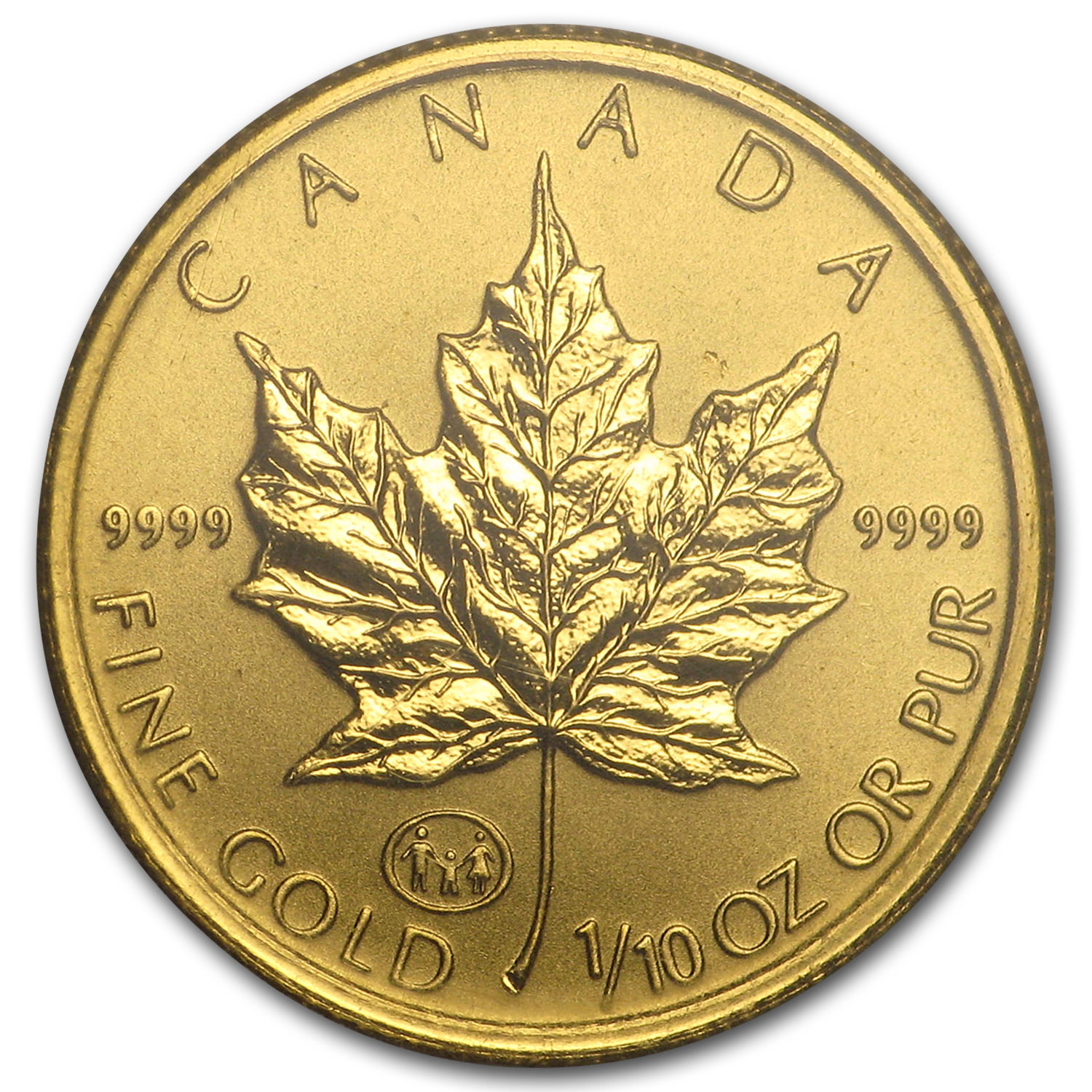1997 Canada 1/10 oz Gold Maple Leaf BU (Family Privy, in Assay)