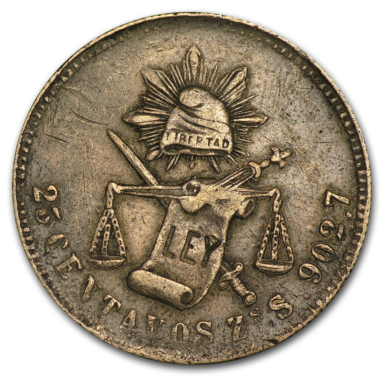 Pre-1900 Mexican Silver 25 Centavos (Avg Circulation) ASW = .1965