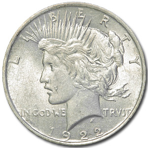1922 Peace Dollar AU-55 (VAM-5A, Scar Cheek, Top-50)