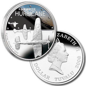 2008 Tuvalu 5-coin 1 oz Silver Fighter Planes of WWII Proof Set