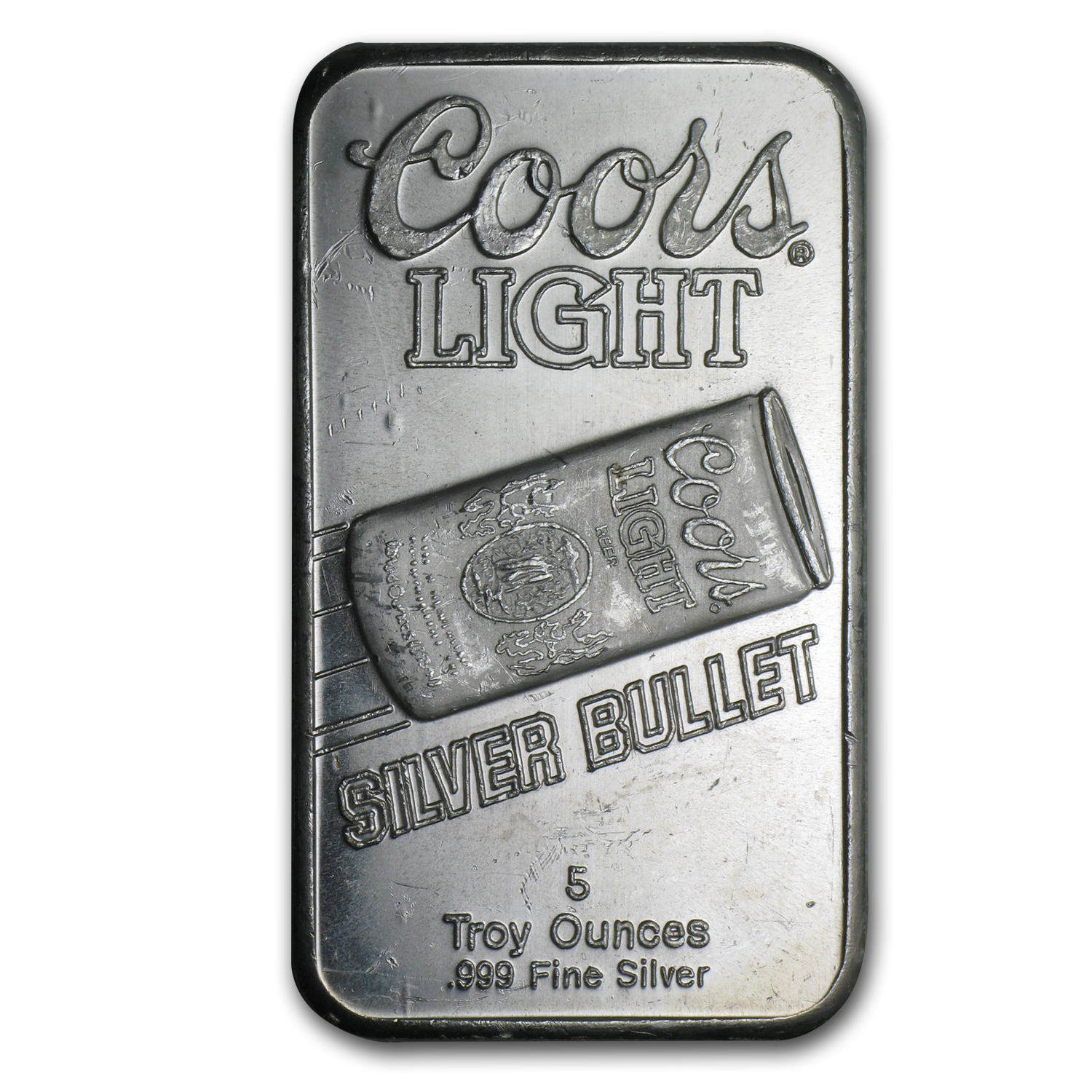 5 oz Silver Bars - Coors Light Silver Bullet