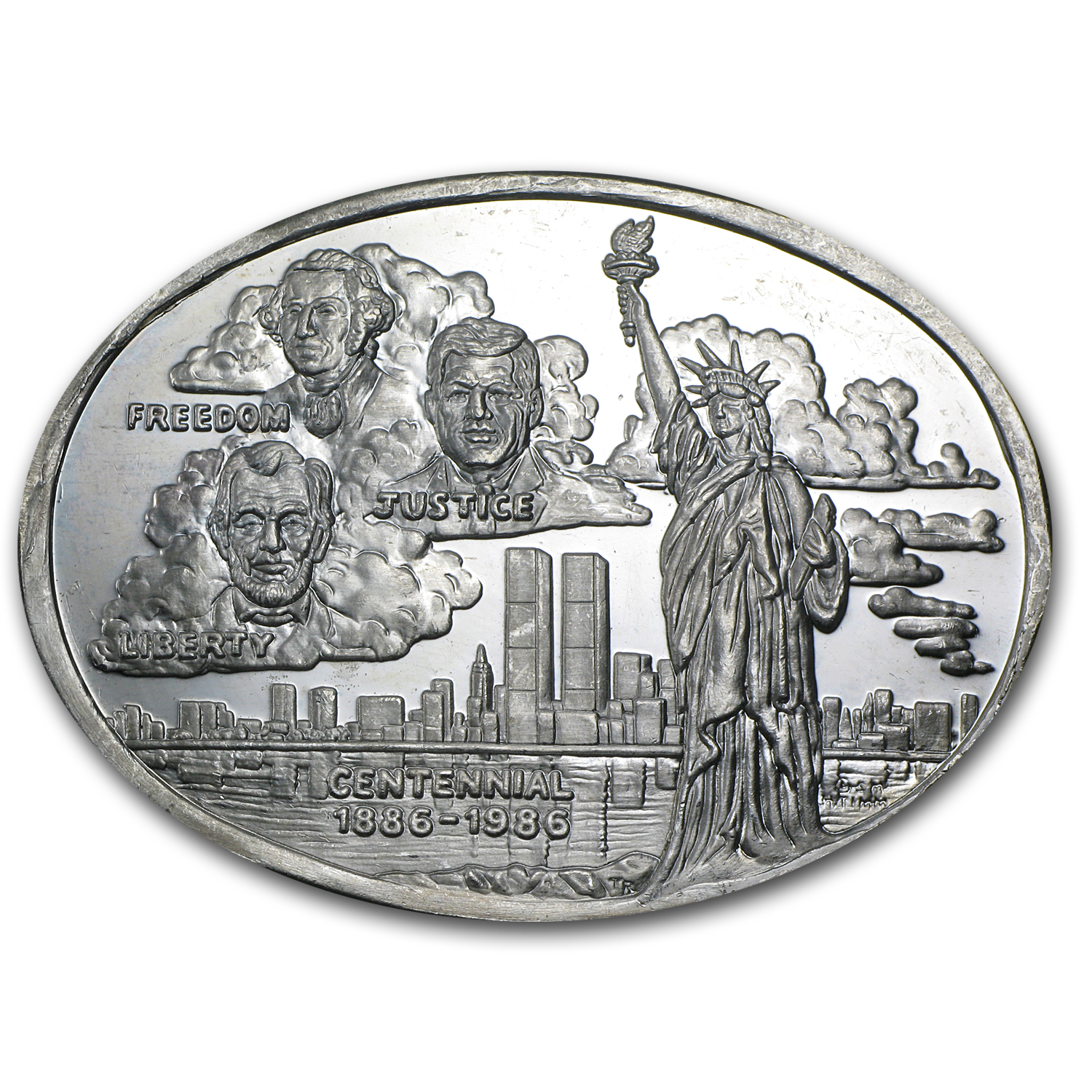 3 oz Silver Oval - Statue of Liberty