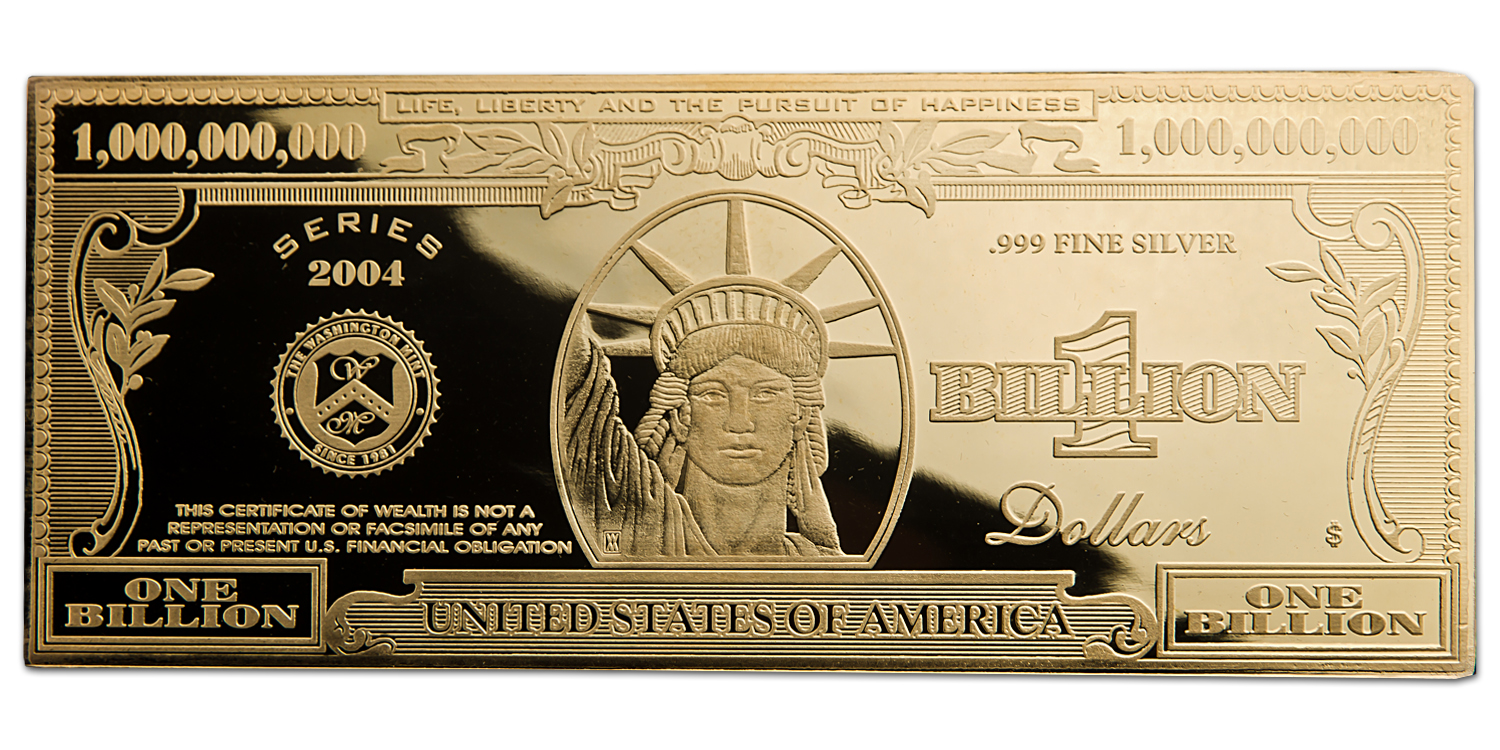 4 oz Silver Bars - $1,000,000,000 Bill (Gold Plated)