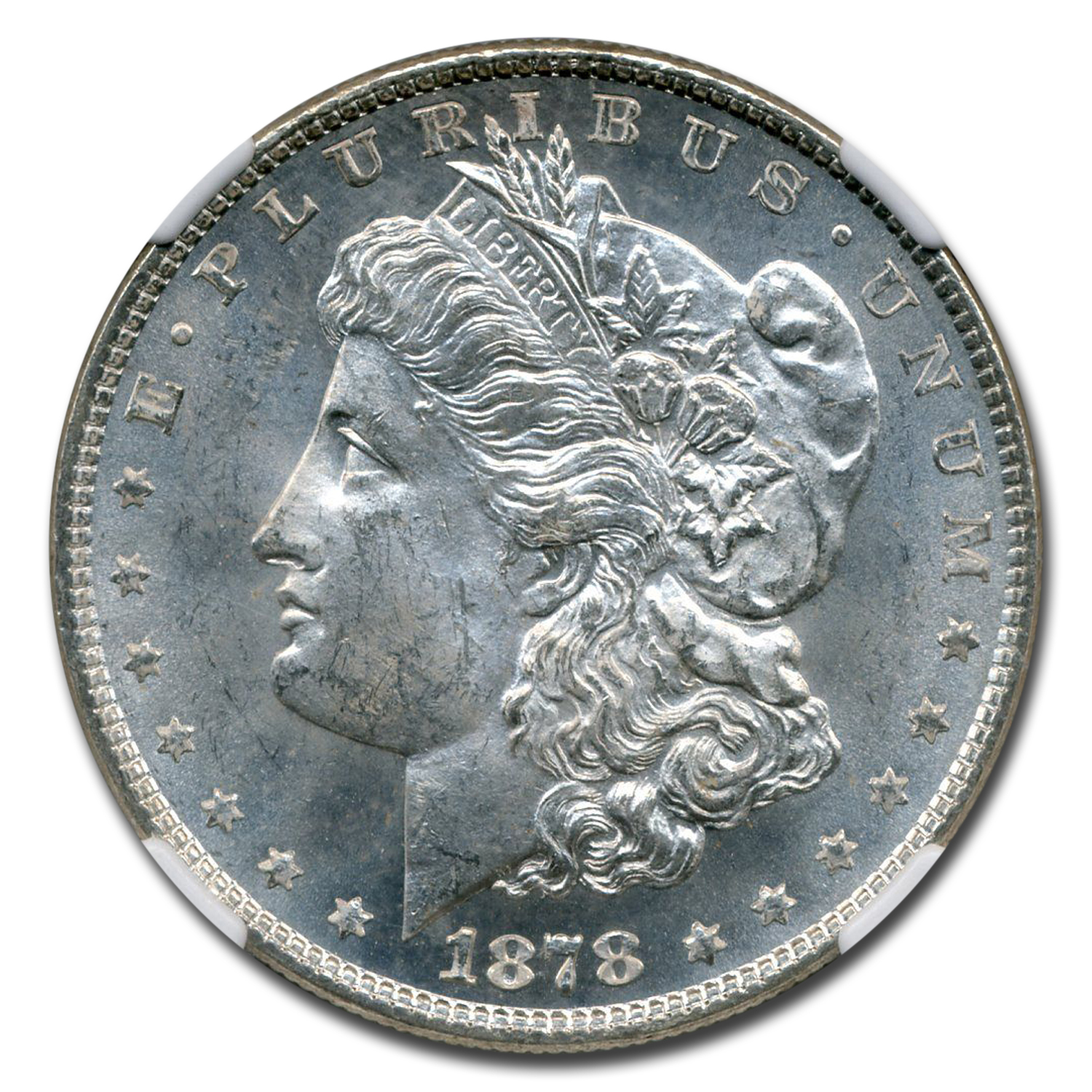 1878 Morgan Dollar - 8 Tailfeathers - MS-63 NGC