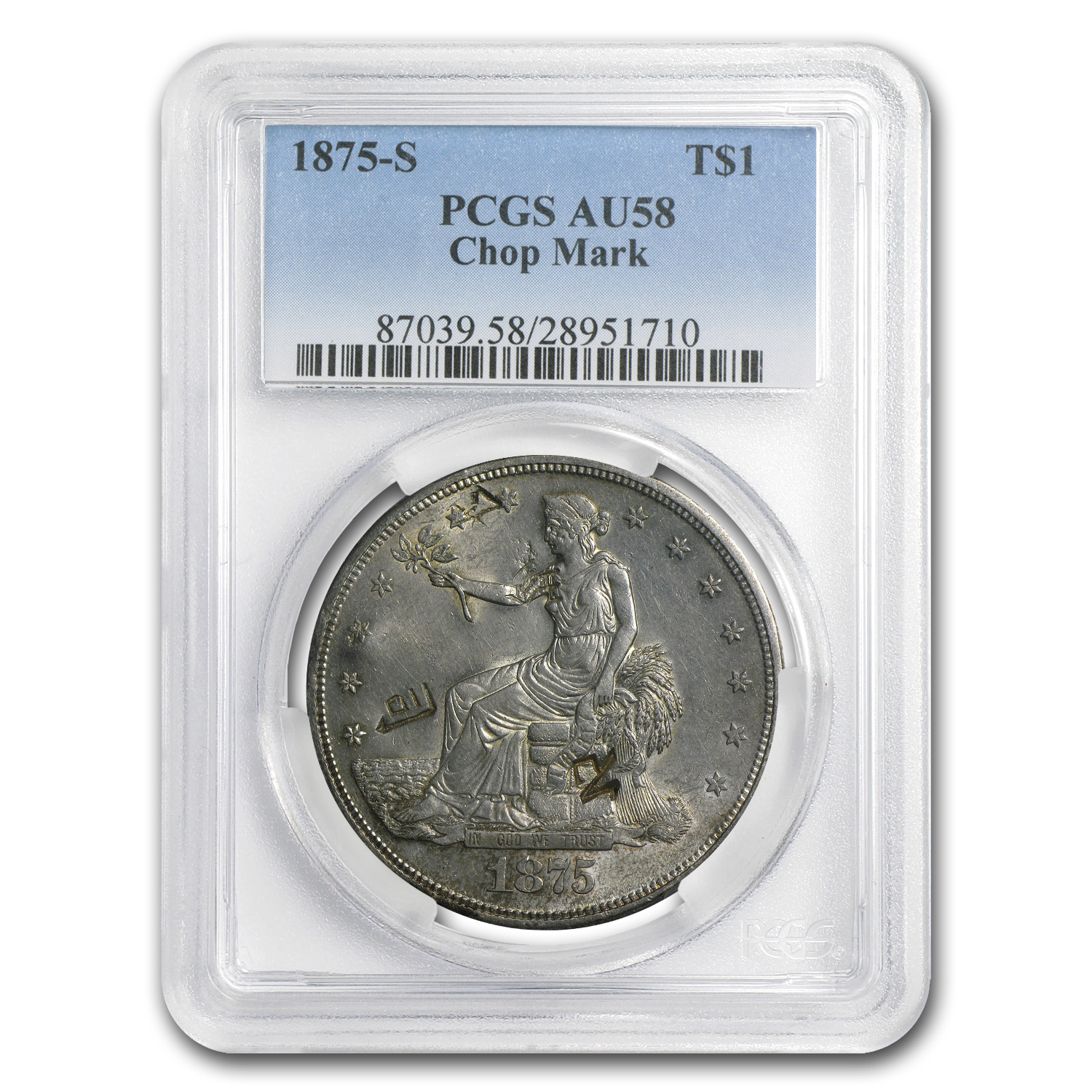 1875-S Trade Dollar AU-58 PCGS (Chopmark)