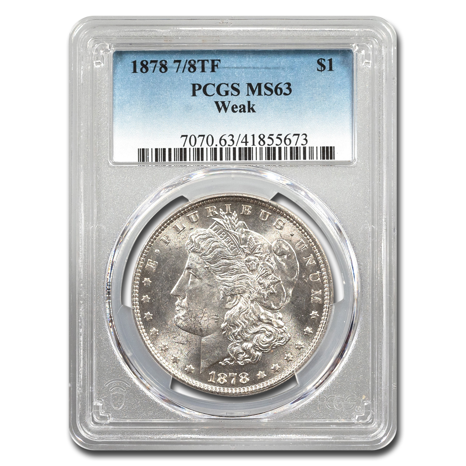 1878 Morgan Dollar 7/8 TF Weak MS-63 PCGS