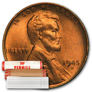 1945-S Lincoln Cent 50-Coin Roll BU