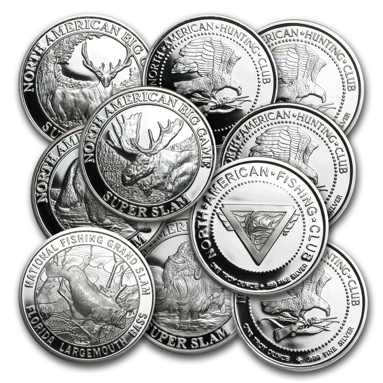 1 oz Silver Rounds - North American Hunting/Fishing Club